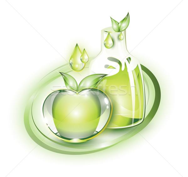 Zöld almalé alma üveg levél gyümölcs Stock fotó © evetodew