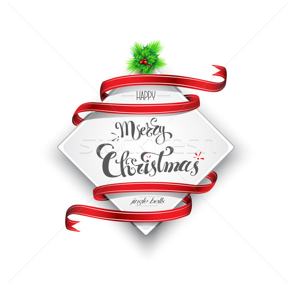 Vidám karácsony szalag eps 10 vörös szalag Stock fotó © evetodew