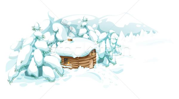 Tél tájkép vidék kicsi kényelmes ház Stock fotó © evetodew