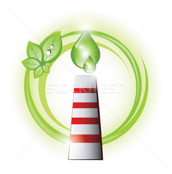 Eco chaminé gotas planta negócio folha Foto stock © evetodew