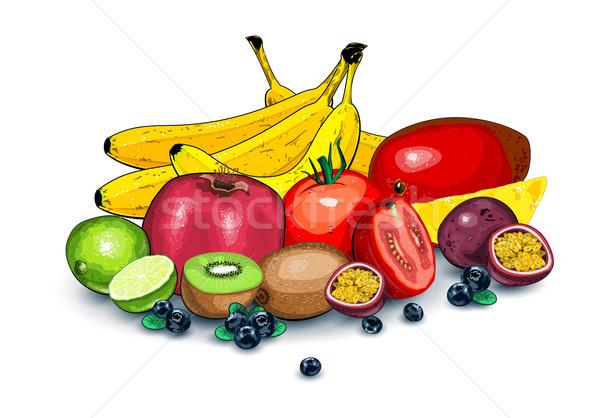 érett egzotikus gyümölcsök együtt trópusi ahogy Stock fotó © evetodew