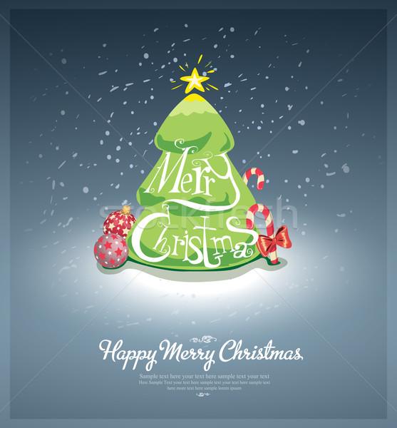 Vidám karácsony posta kártya kézzel írott vám Stock fotó © evetodew