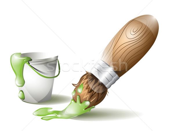 Pędzel wiadro zielone farby narzędzie zawodowych Zdjęcia stock © evetodew