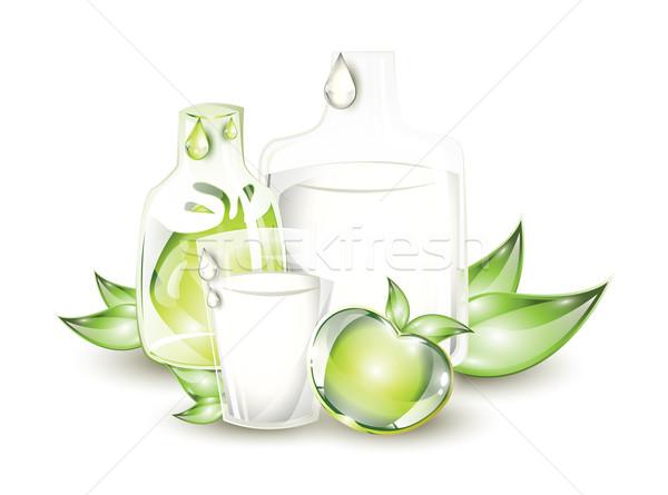 Tej almalé üveg zöld alma étel Stock fotó © evetodew