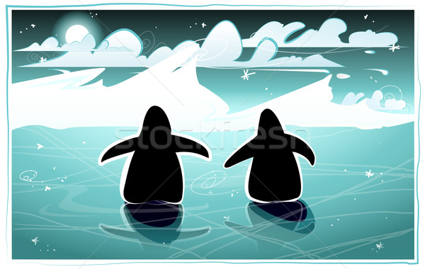 Penguins in an arctic night Stock photo © evetodew