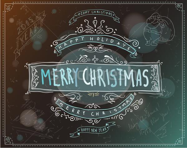 Vidám karácsony embléma címke klasszikus retró stílus Stock fotó © evetodew