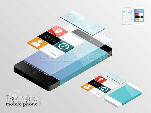 Izometrikus mobiltelefonok feketefehér érintőképernyő applikációk panel Stock fotó © evetodew