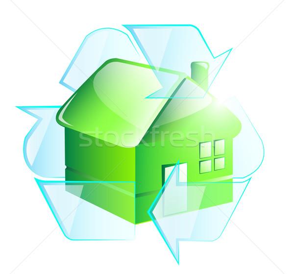 újrahasznosít szimbólum üvegház otthon ajtó zöld Stock fotó © evetodew
