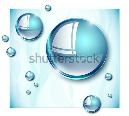 Waterdruppels groot klein witte grens natuur Stockfoto © evetodew