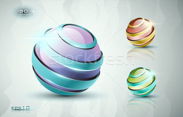 3D gömb ikonok fényes fényes színes Stock fotó © evetodew