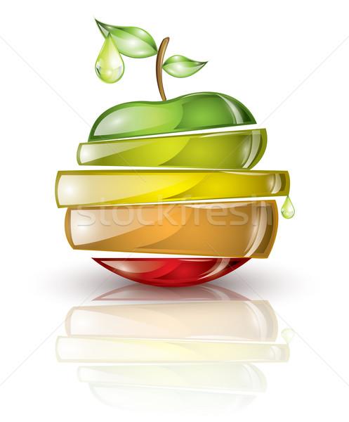 Darabok gyümölcsök ahogy almák citrus citrom Stock fotó © evetodew