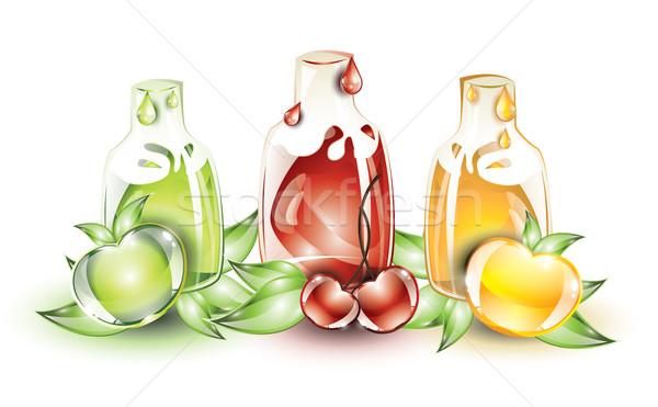Gyümölcs citromsárga zöld almák piros anime Stock fotó © evetodew