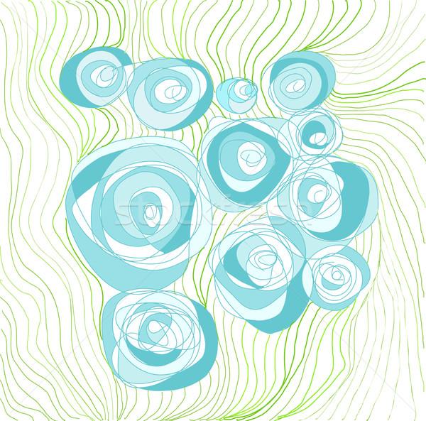 Kézzel rajzolt rózsák kék esküvő terv háttér Stock fotó © evetodew