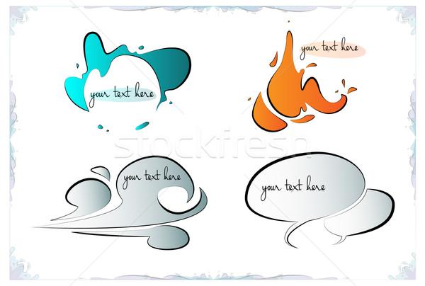 Rajz kézzel rajzolt elemek formák szövegbuborékok tűz Stock fotó © evetodew