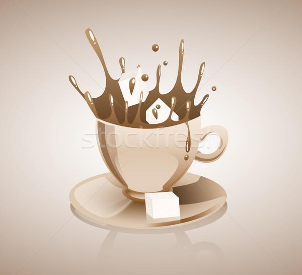 Café tres terrones de azúcar caer taza Foto stock © evetodew