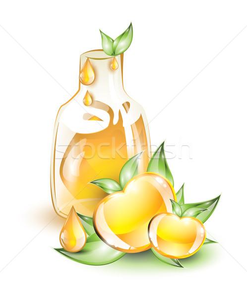 Almalé citromsárga alma levél zöld ital Stock fotó © evetodew