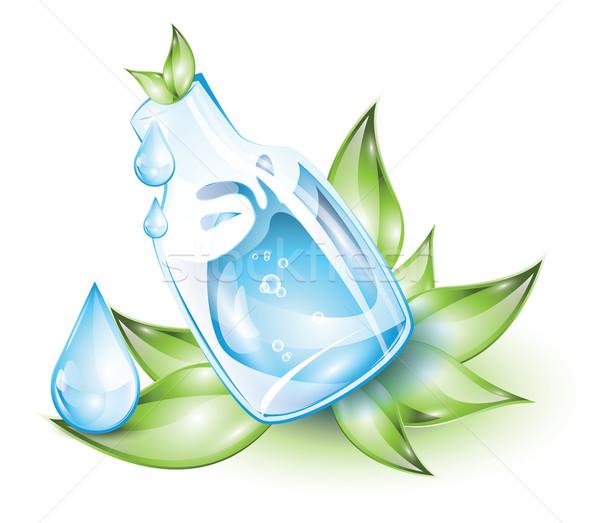 Vizes flakon kék zöld levelek víz levél háttér Stock fotó © evetodew