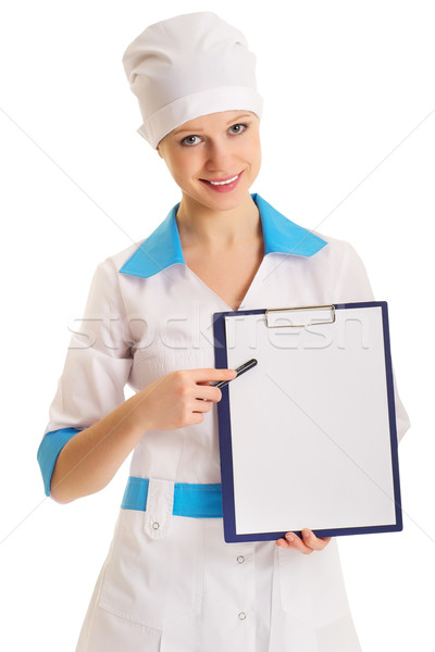Woman doctor with an advertising tablet Stock photo © evgenyatamanenko