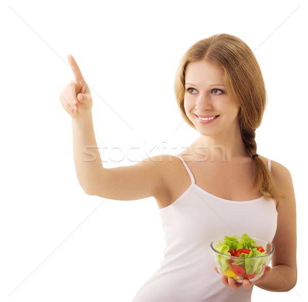 Bella ragazza vegan insalata bianco bella Foto d'archivio © evgenyatamanenko