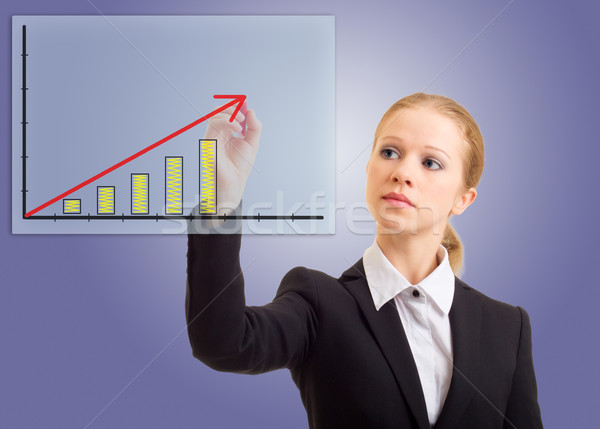 Business woman drawing a rising arrow Stock photo © evgenyatamanenko