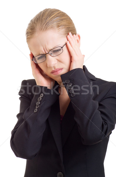 Young business woman with headache Stock photo © evgenyatamanenko