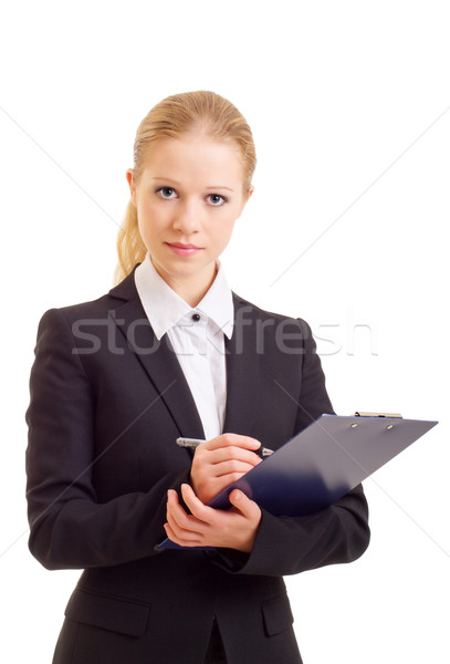 a beautiful young business woman with folder Stock photo © evgenyatamanenko