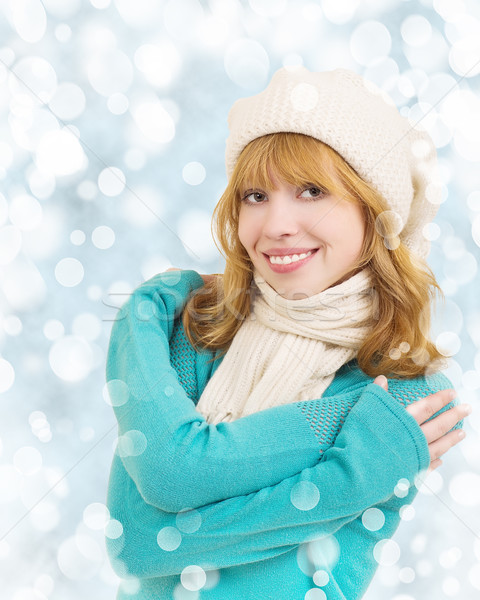 Christmas portrait of a beautiful young happy woman Stock photo © evgenyatamanenko