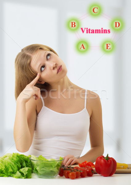 beautiful  young woman   with  vegetables choose foods rich in v Stock photo © evgenyatamanenko