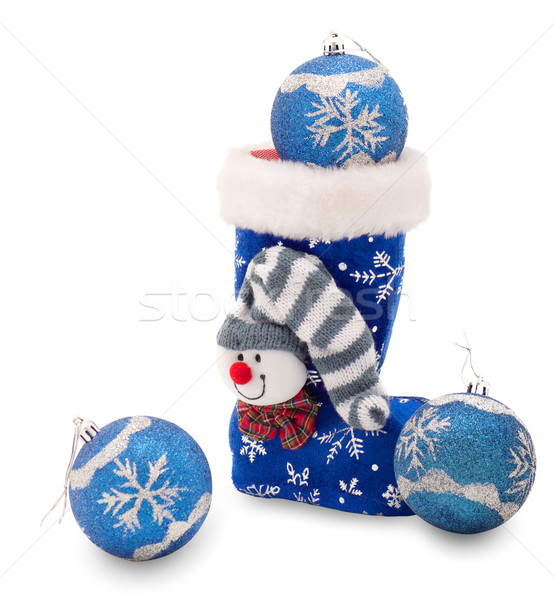 Blue Christmas stocking  and three balls Stock photo © evgenyatamanenko