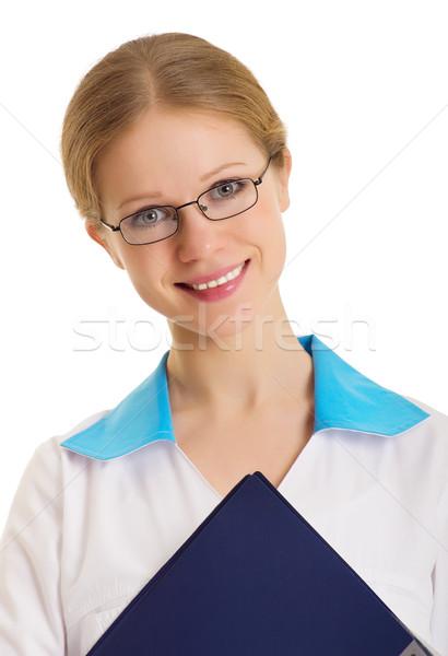 Ritratto attrattivo giovani infermiera isolato bianco Foto d'archivio © evgenyatamanenko