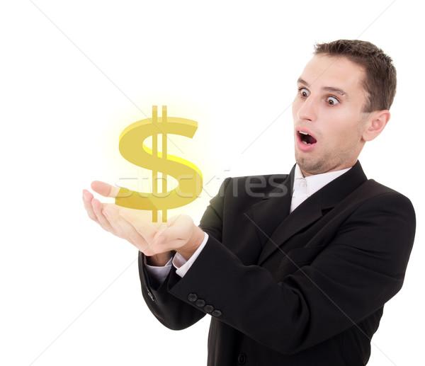 Biznesmen złoty znak dolara biały człowiek tle Zdjęcia stock © evgenyatamanenko