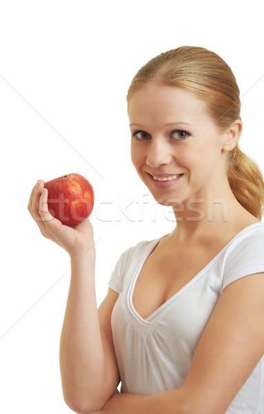 Bella ragazza mela rossa bianco bellezza Foto d'archivio © evgenyatamanenko