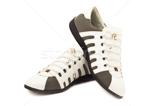 Fashionable men's sneakers new white Stock photo © evgenyatamanenko
