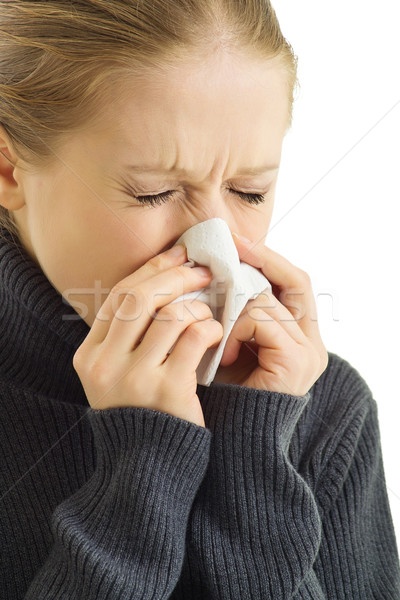 A sneezing woman Stock photo © evgenyatamanenko