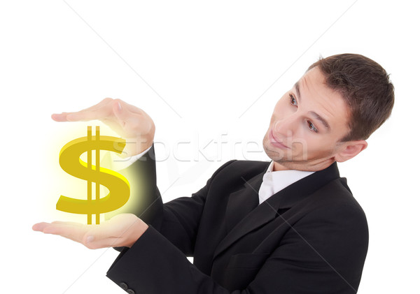 businessman holds golden US dollar sign Stock photo © evgenyatamanenko