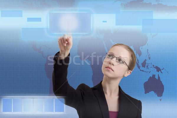 Futuro business soluzioni donna d'affari interfaccia blu Foto d'archivio © evgenyatamanenko