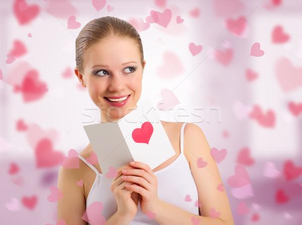 Mooi meisje briefkaart Valentijn abstract roze harten Stockfoto © evgenyatamanenko