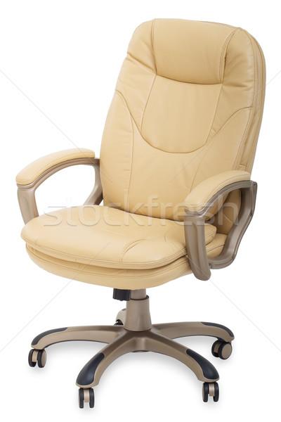 Nuovo pelle sedia da ufficio ruote isolato bianco Foto d'archivio © evgenyatamanenko