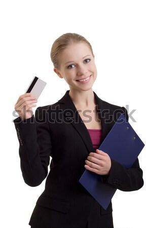 Donna d'affari carta di credito giovani donna carta faccia Foto d'archivio © evgenyatamanenko