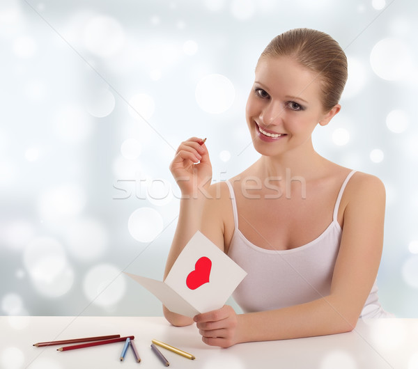 beautiful young woman signed valentine postcard Stock photo © evgenyatamanenko