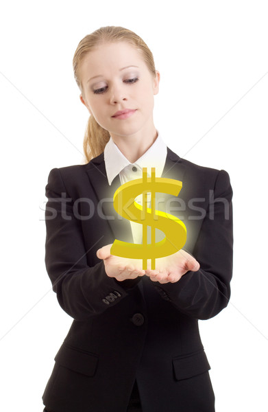business woman holding a dollar sign Stock photo © evgenyatamanenko