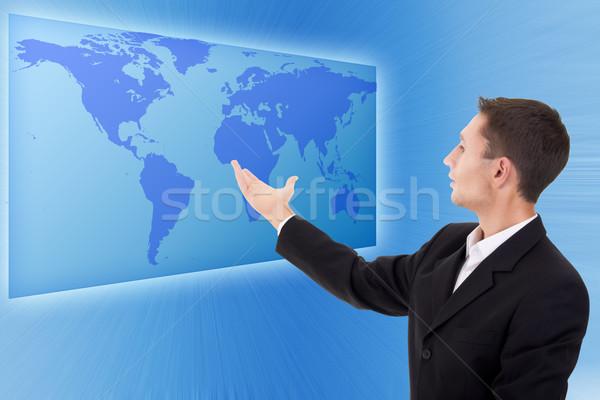 Futuro business soluzioni imprenditore interfaccia blu Foto d'archivio © evgenyatamanenko