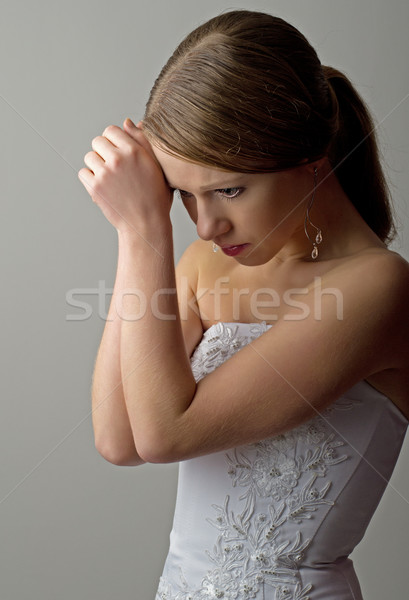Bella triste grigio donna occhi Foto d'archivio © evgenyatamanenko
