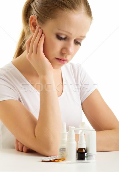 Influenza pillole bianco donna ragazza Foto d'archivio © evgenyatamanenko