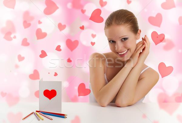 Bella ragazza cartolina san valentino abstract rosa cuori Foto d'archivio © evgenyatamanenko