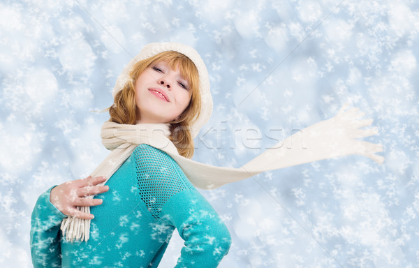 Christmas portrait of a beautiful young woman with scarf flutter Stock photo © evgenyatamanenko