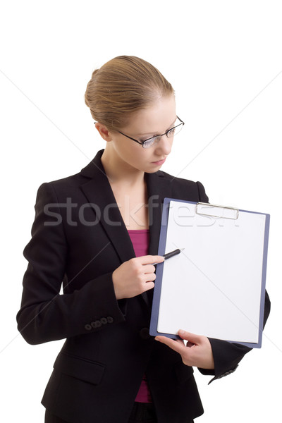 business woman with a represent folder Stock photo © evgenyatamanenko