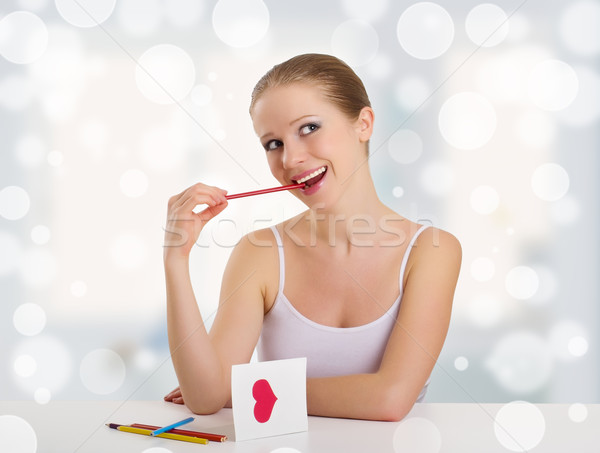 beautiful girl signed valentine postcard Stock photo © evgenyatamanenko