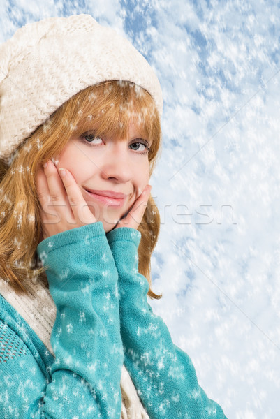 beautiful blonde girl with snowflakes Stock photo © evgenyatamanenko