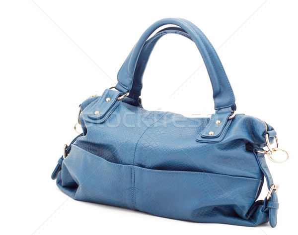 Güzel zarif kadınlar çanta mavi beyaz Stok fotoğraf © evgenyatamanenko